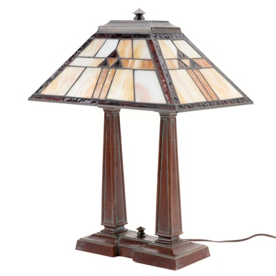 Arts and Crafts Style Stained Glass Table Lamp