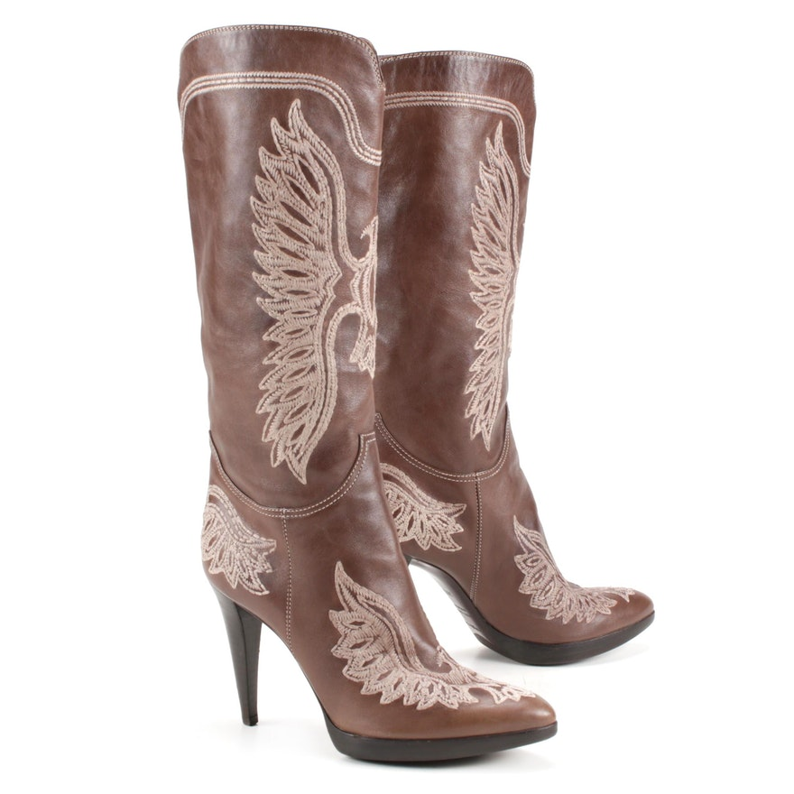 Sergio Rossi Eagle Embroidered Brown Leather High Heel Boots