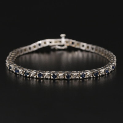 14K White Gold Blue Sapphire and Diamond Hinged Link Bracelet