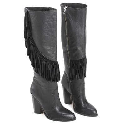 Cynthia Vincent Black Leather Fringed Knee-High Boots