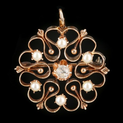 Victorian 14K Gold Diamond and Seed Pearl Converter Brooch