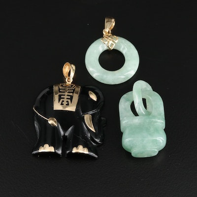 Asian Style 14K Yellow Gold Jadeite and Black Onyx Pendants Featuring Elephant