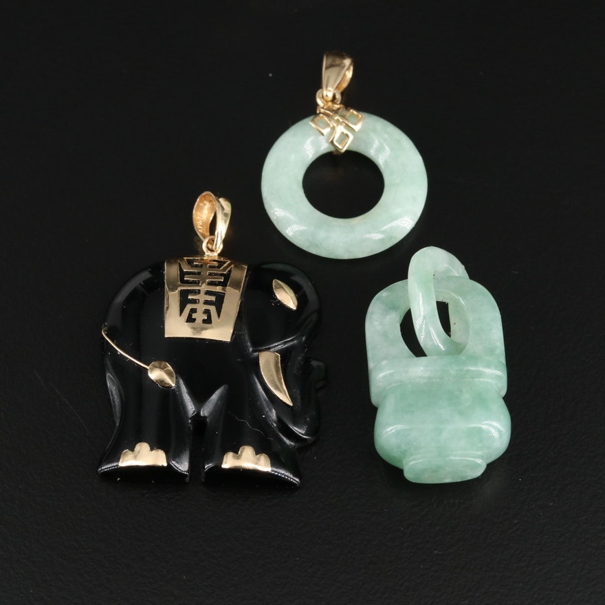 Asian Style 14K Yellow Gold Jadeite and Black Onyx Pendants Featuring Elephant