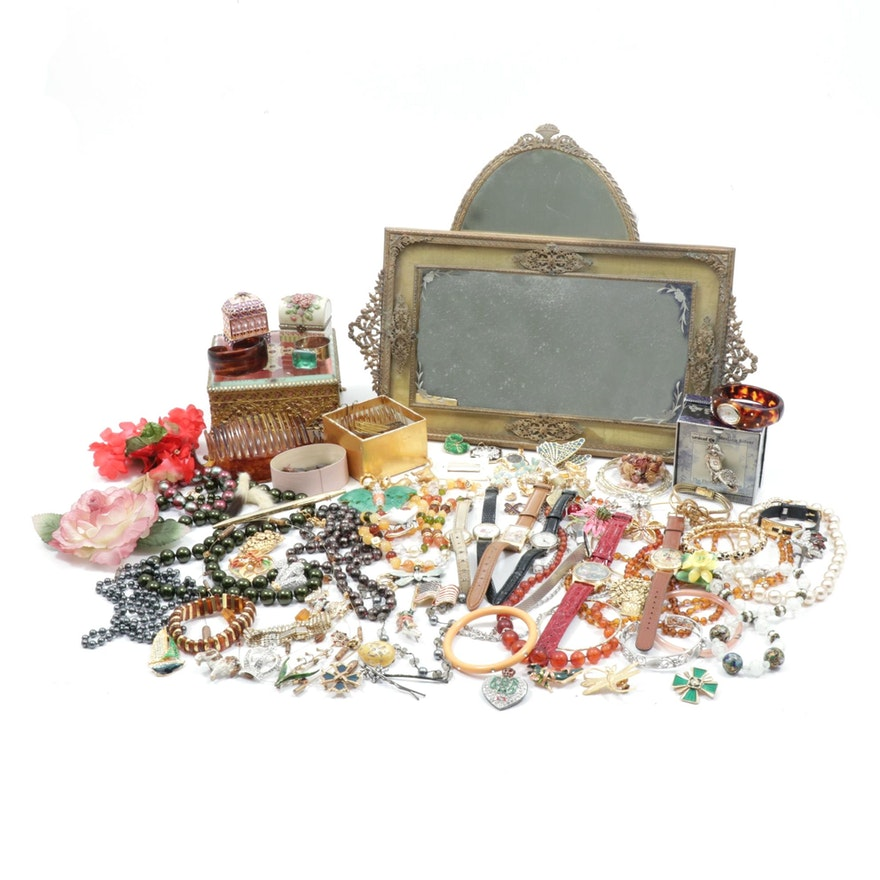 Costume Jewelry featuring Vanity Mirrors, Hair Combs and More, Vintage