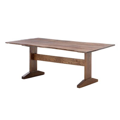 Curated Home Decor Oak Free Edge Coffee Table on Trestle Base