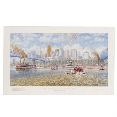 """Frank McElwain Offset Lithograph """"1788 - Cincinnati Bicentennial - 1988"""""""