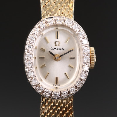 14K Gold and Diamond Omega Stem Wind Wristwatch