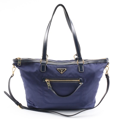 Prada Navy Tessuto Nylon and Saffiano Leather Convertible Satchel
