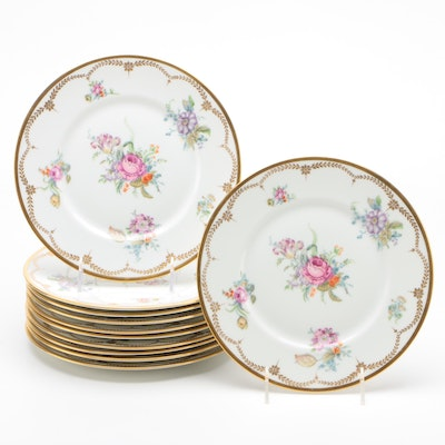Union Céramique Hand-Painted Floral Porcelain Luncheon Plates, Early 20th C.
