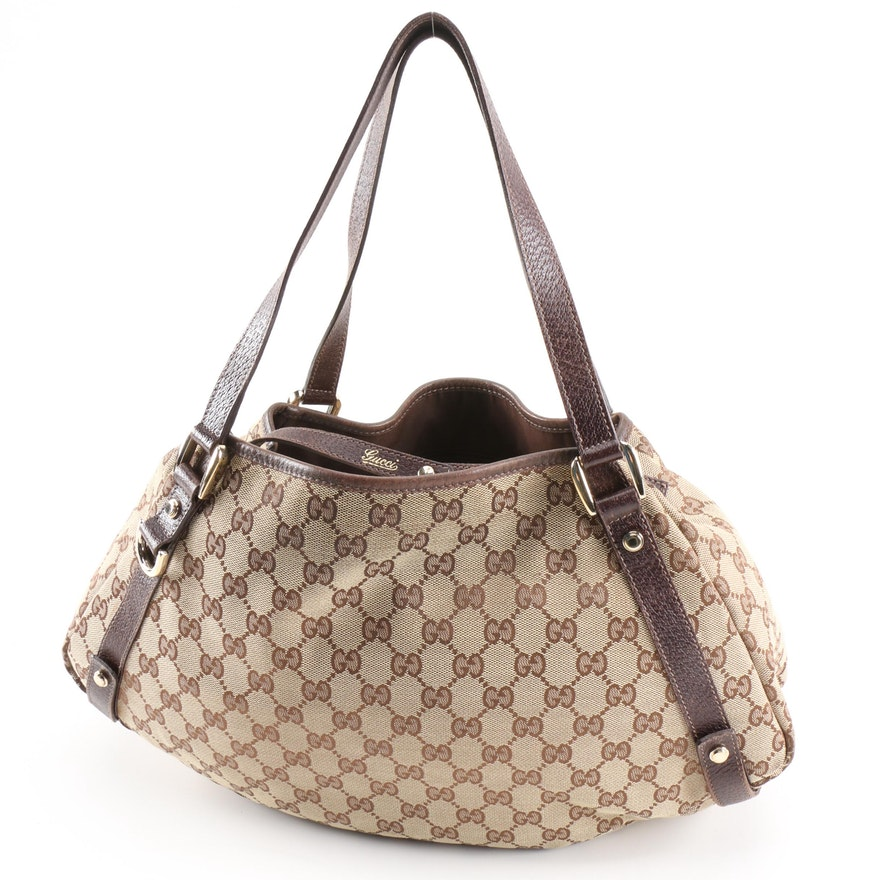 Gucci Pelham Shoulder Bag in GG Canvas and Brown Leather