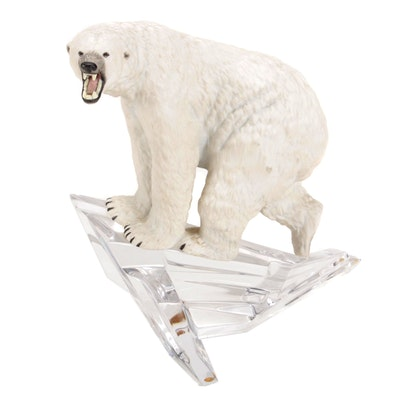 "Franklin Mint ""Lord of the Ice"" Porcelain Polar Bear Figurine on Glass, 1980s"