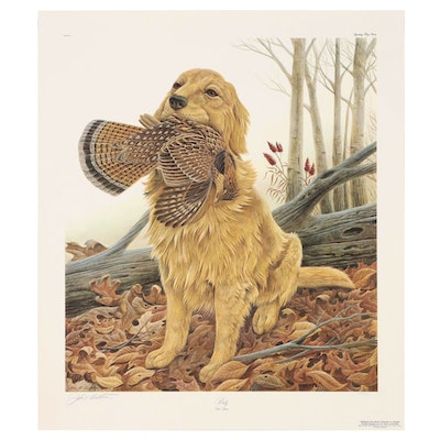 "John Ruthven Offset Lithograph ""Dusty: Golden Retriever"""