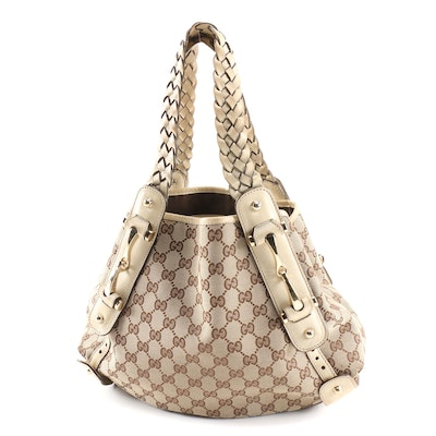 Gucci Pelham Horsebit GG Guccissima Canvas and Beige Leather Shoulder Bag