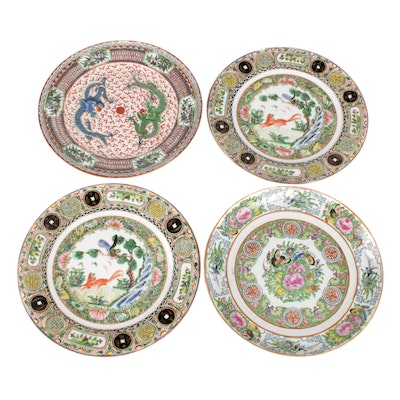 Chinese Hand-Painted Rose Medallion and Other Porcelain Plates