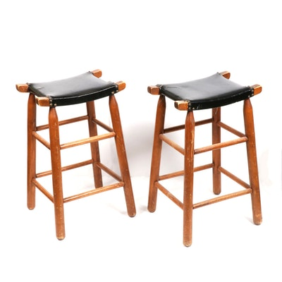 Leather and Wood Barstools, Mid-20th Century