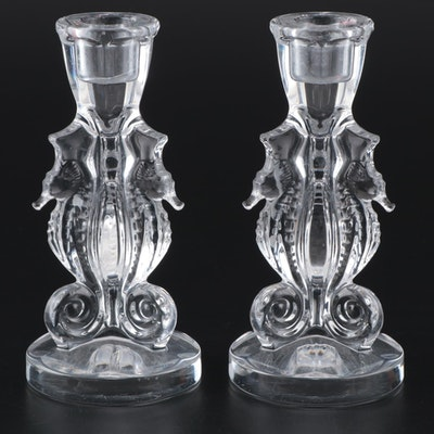 """Pair of Waterford Crystal """"Seahorse"""" Single Light Candlesticks"""