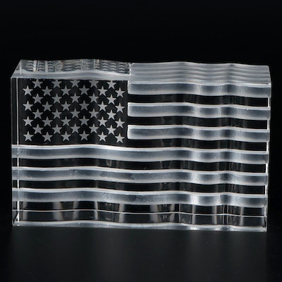 "Steuben Art Glass ""Star Spangled Banner"" Figurine Designed by David Dowler"