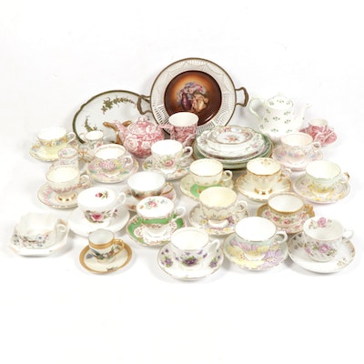 Haviland and Other Porcelain Teacups and Saucers, Early to Late 20th C.