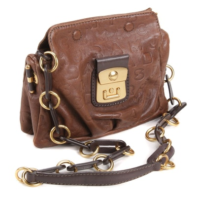 Marc by Marc Jacobs Monogram Brown Leather Crossbody Bag