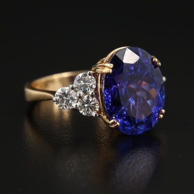 Dyach 18K Gold 9.44 CT Tanzanite and 1.33 CTW Diamond Ring