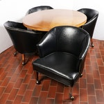 Mid-Century Modern Faux Leather Barrel Chairs with Round Table