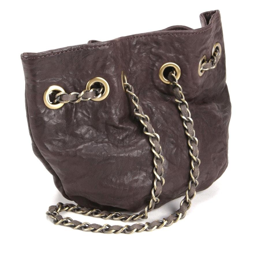 Monserat De Lucca Brown Leather Chain Strap Drawstring Shoulder Bag