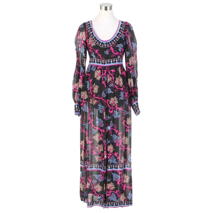 Emilio Pucci for Saks Fifth Avenue Silk Georgette Dress, 1960s Vintage