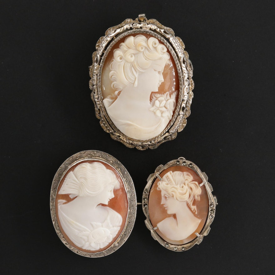 Vintage 800 Silver Carved Shell Cameo Converter Brooches