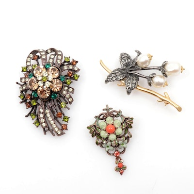 Joan Rivers Rhinestone and Enamel Floral Brooches