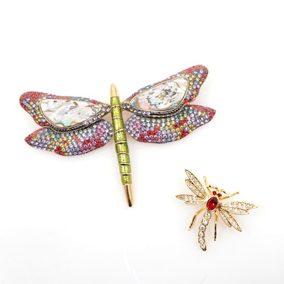Joan Rivers Rhinestone with Abolone Dragonfly Brooches