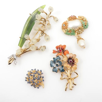 Joan Rivers Rhinestone with Enamel Floral Brooches