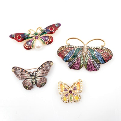 Joan Rivers Rhinestone with Enamel Butterfly Brooches