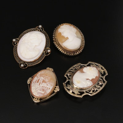 Vintage Carved Conch and Helmet Shell Cameo Brooches
