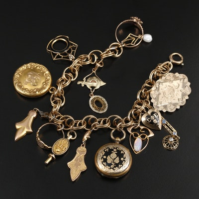 Vintage Charm Bracelet Including 10K Yellow Gold Charms and Gemstone Accents