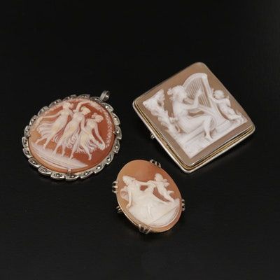 Vintage 800 Silver Carved Shell Cameo Converter Brooches Featuring Three Graces