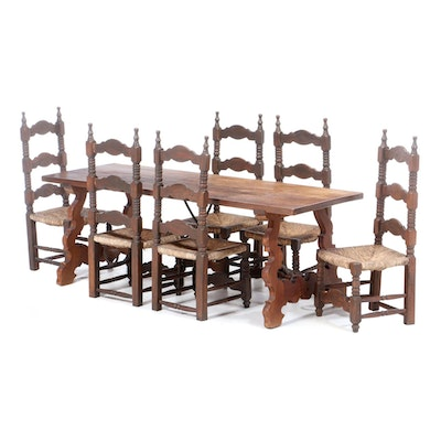 Spanish Colonial Style Seven-Piece Dining Set, Mid to Late 20th Century