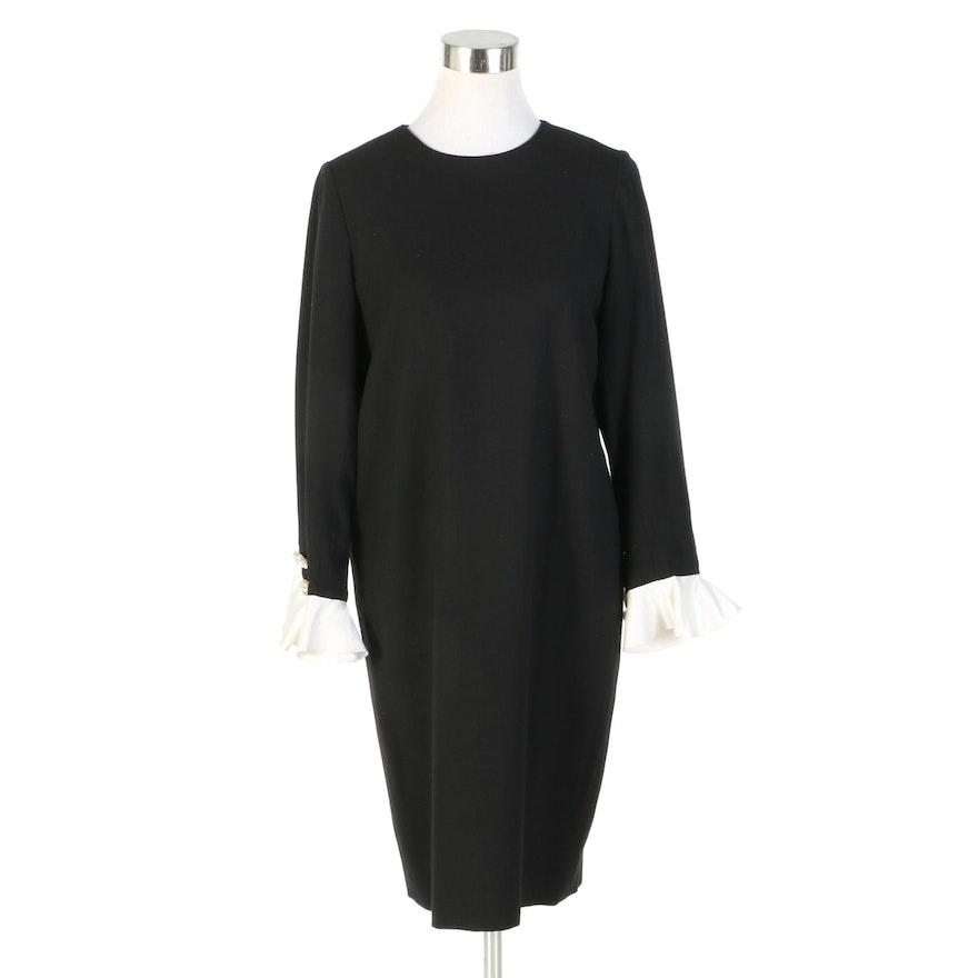 Bill Blass Black Wool Dress with Contrast Satin Cuffs, Vintage