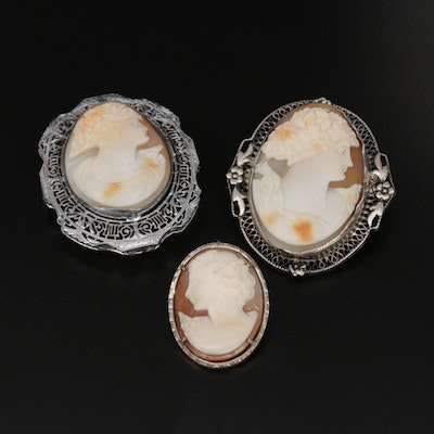 Vintage Sterling Silver Carved Shell Cameo Converter Brooches