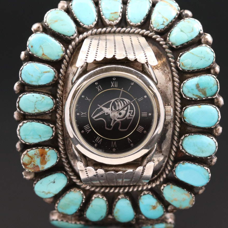 Quartz Watch On A Sterling Silver and Turquoise Navajo Cuff