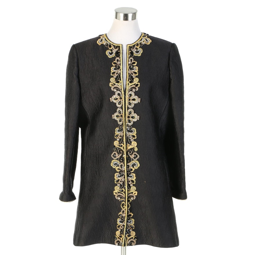 Mary McFadden Quilted Black Coat with Passementerie Beaded Trim