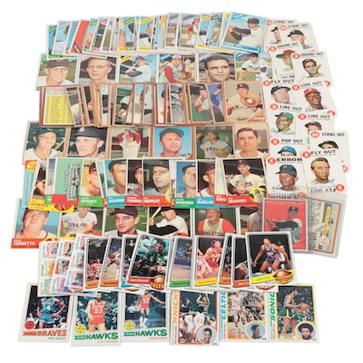 1960s Baseball Cards, a 1970 Topps Poster with 1970s Basketball Cards