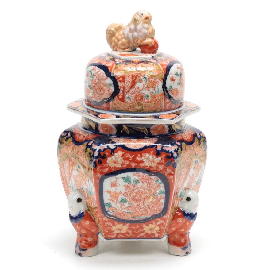 Japanese Hand-Painted Imari Figural Porcelain Ginger Jar
