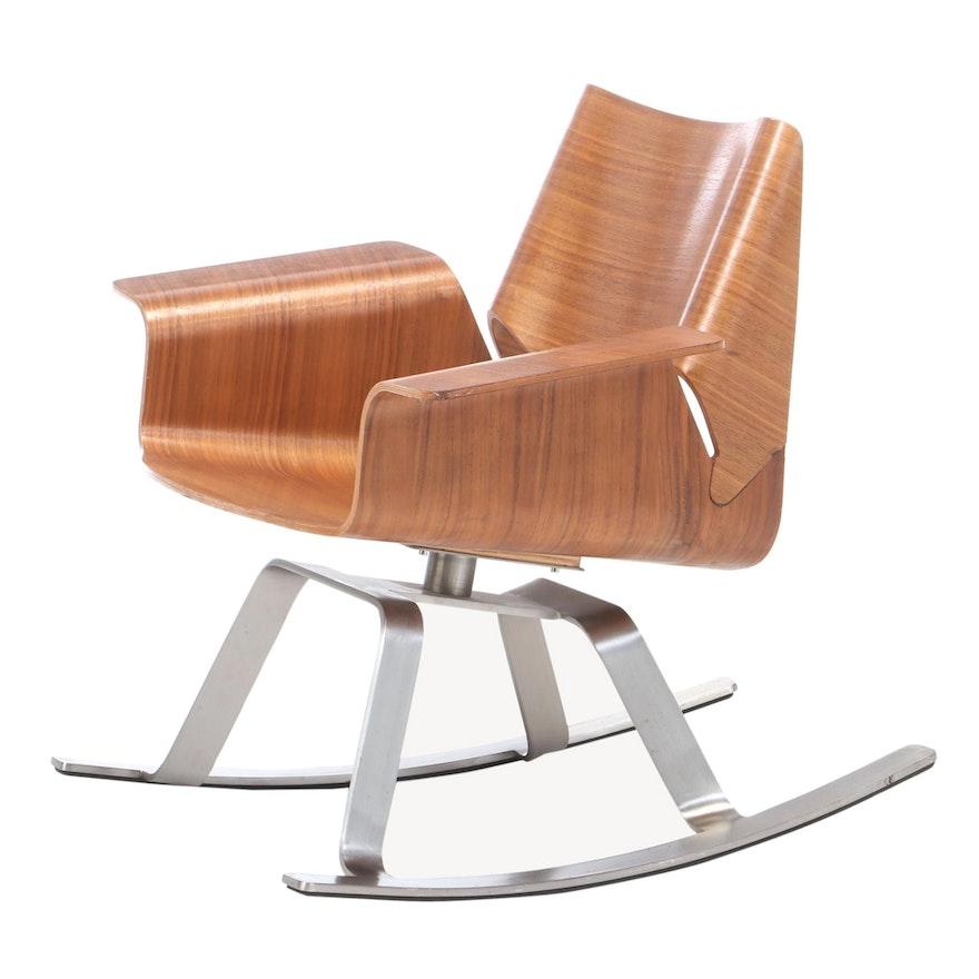 "Blu Dot ""Buttercup"" Laminated Walnut Rocking Chair"