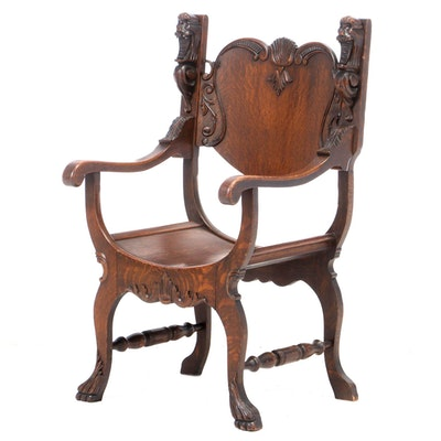 Colonial-Revival Carved Oak Arm Chair, Early 20th Century