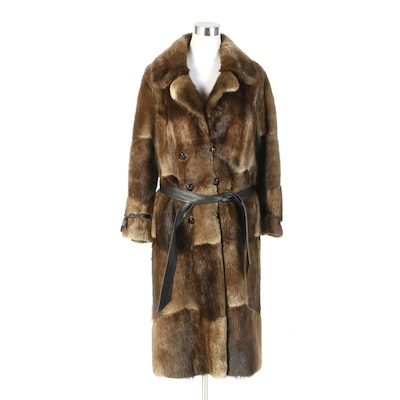 Muskrat Fur Patchwork Coat with Leather Cinch Belt from Lowenthal's, Vintage