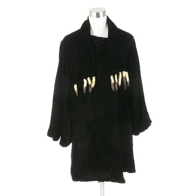 Black Velvet Jacket with Draped Sleeves and Ermine Tail Fur Trim, 1930s Vintage