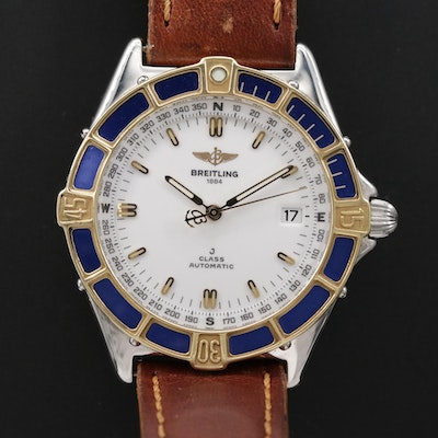 Vintage Breitling J-Class 18K Gold and Stainless Steel Automatic Wristwatch