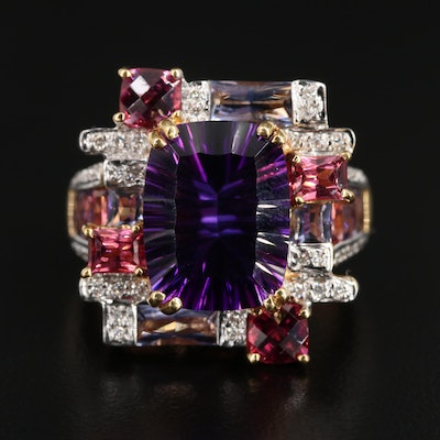 Bellarri 18K Gold Amethyst, Diamond, Garnet and Iolite Ring