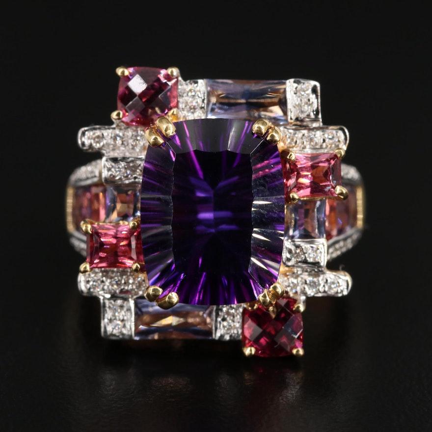 Bellarri 18K Gold Amethyst, Diamond, Garnet and Iolite Ring