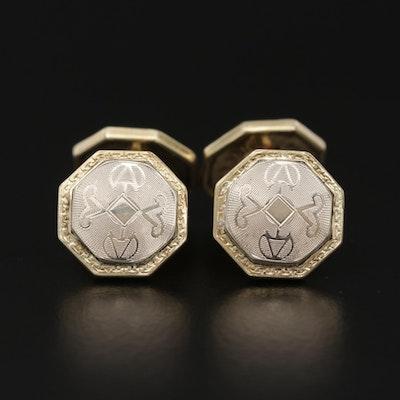 Belais Art Deco 14K White Gold Octagonal Cufflinks